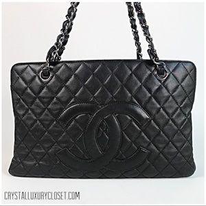 Authentic Chanel Timeless Shopper Tote Black